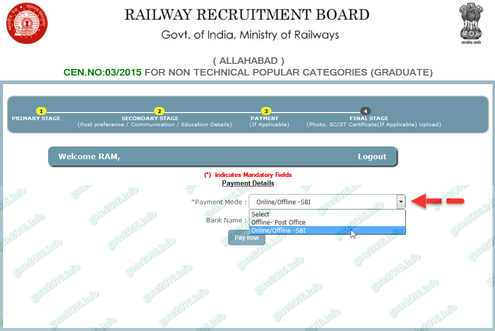 Rrb Railways Non Technical Application Form Payment Stage Ekxam