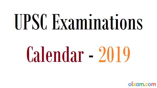 upsc examinations calendar 2019