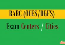 barc oces dgfs exam centers cities