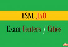 bsnl jao exam centers cities
