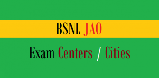 bsnl jao exam centers cities