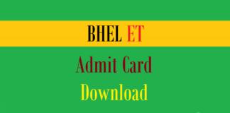 bhel et admit card 1