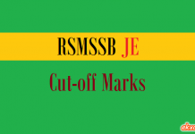 rsmssb je cut off marks