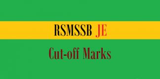 rsmssb je cut off marks