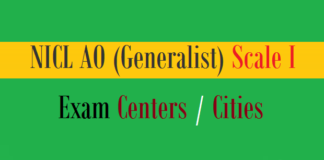 nicl ao generalist exam centers cities